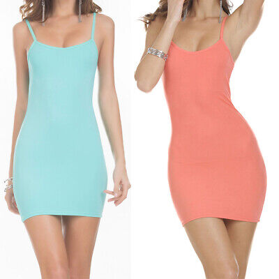 Wild Girls Causal Solid Backless Strap Sleeveless Vest Tank Bodycon Mini Dress