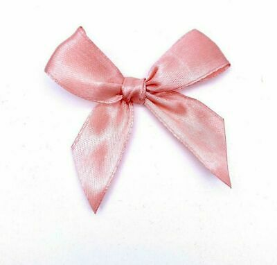 6cm Pre-Tied Satin Bows 20mm Wide Ribbon Pink & Rose Gold Gift Car Wedding Decor