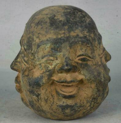 """4"""" Rare Old Chinese Bronze four sides expression Maitreya Buddha Head Statue"""
