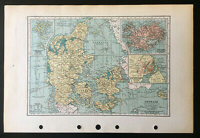 Map Of Denmark Iceland Copenhagen  C1939 Antique Large