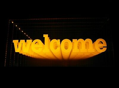LED WELCOME Sign Animated Neon Light Tunnel Lamp InfinityMirror light Frame