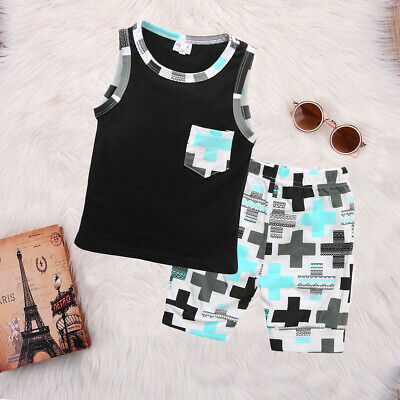 US Toddler Kid Baby Boy Clothes Boys Outfits Sets Short T-Shirt Tops + Pants Set