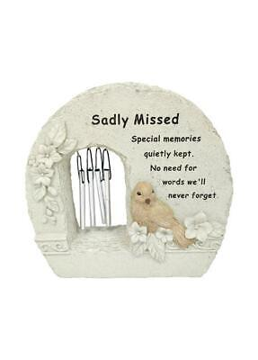 Sadly Missed Memorial Bird Wind Chime Rock Grave Remembrance Plaque Ornament