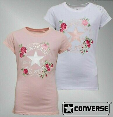 Girls Converse Short Sleeve Print Rose Ribbed T Shirt Sizes Age from 8 to 15 Yrs