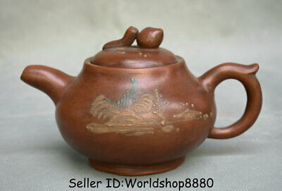 "7"" Old Chinese Yixing Zisha pottery Carved scenery Teapot Tea pot Tea kettle set"