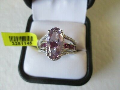 Rose De France Amethyst Platinum over Sterling Silv Ring (Size 10) TGW 6.60 cts.