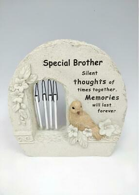 Brother Memorial Bird Wind Chime Rock Grave Remembrance Plaque Tribute Ornament