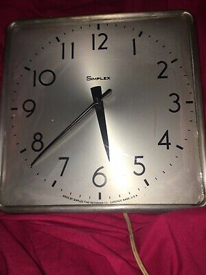 """Vintage Simplex Square Wall Clock """"Classic Look"""" Used in Good Condition Very Col"""
