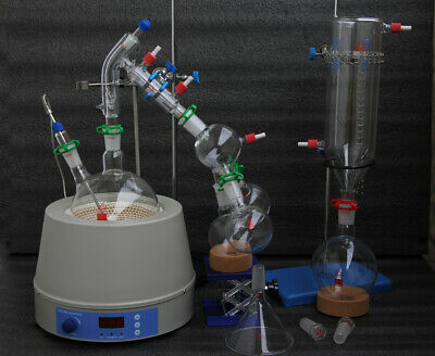 Glass Short Path Distillation Kit With Cold Trap and Magnetic Heating Mantle 2L