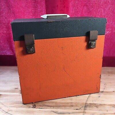 "Vintage record storage box / case LP 12"" vinyl ~ 1970's orange grey Retro"