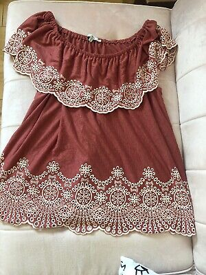 WOMEN'S DRESS TUNIC Embroidered Off The Shoulder TJ maxx Plus Size Blouse 1X