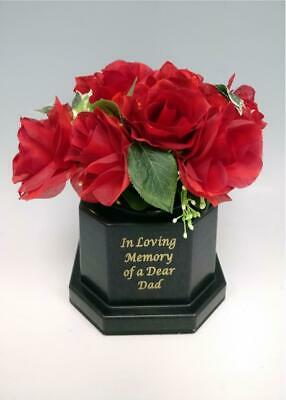 Dad Silk Rose Light Up Memorial Grave Flower Pot Vase Tribute Black Insert