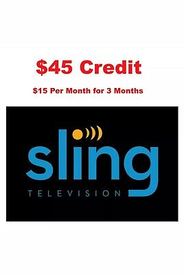 $45 Credit for Sling TV ($15 per month for 3 months) - Fast email delivery.