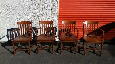 Antique Vintage Wooden Murphy Banker's Office Desk Chairs