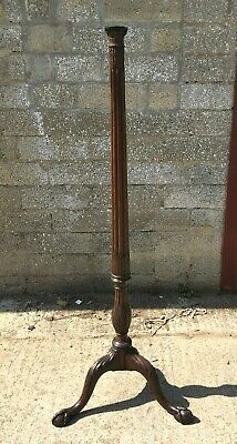 Antique Carved Mahogany Standard Lamp Or Jardinere Stand