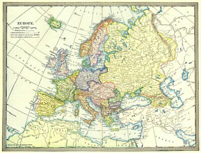 EUROPE POLITICAL. Austria-Hungary. Turkey in Europe 1907 old antique map chart
