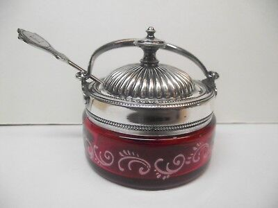 Antique Cranberry Jam/Jelly Condiment Dish With Silverplate Rim  Lid  Spoon