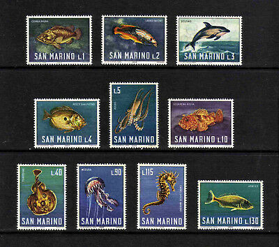 San Marino 1966 Marine Life/ Fish complete set of 10 values (SG 804-813) MNH