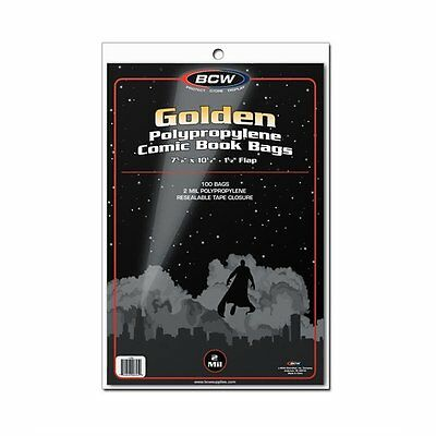 100 BCW Golden Age Comic Book Bags + Backing Boards