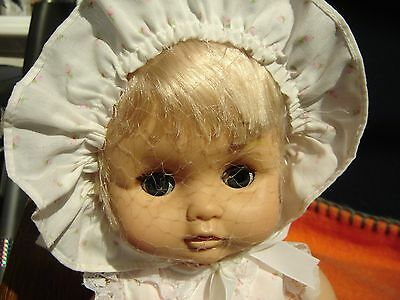 Vinyl/Plastic Baby Doll Blonde Hair Clothed Drinks Wets Excellent Condition