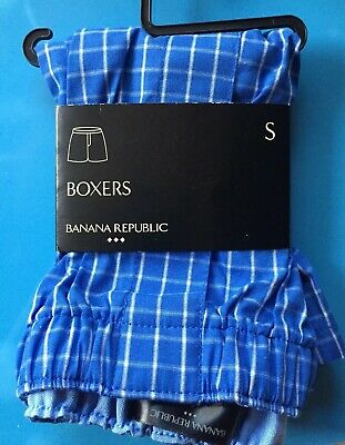 Banana Republic Men's 100% Cotton Boxers Size Small Blue Plaid NWT Free Shipping