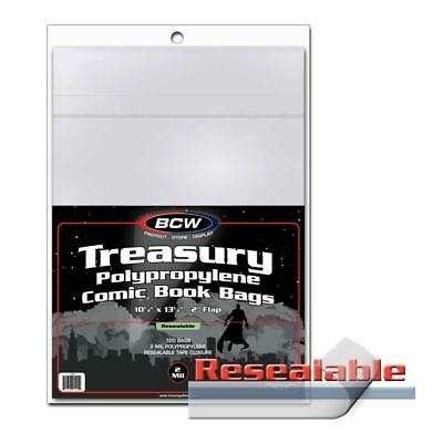 100 BCW RESEALABLE TREASURY BAGS - 10 1/2 x 13 1/2 + Backing Boards