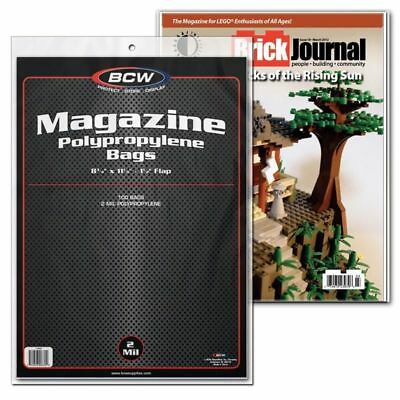 (1000) BCW MAGAZINE BAGS -  8 3/4 x 11 1/8 + Backing Boards