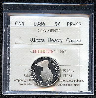 1986 Canada 5 Cents (Ultra Heavy Cameo) Graded ICCS PF67 Certification # BL 103