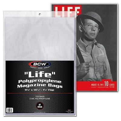 "100 BCW ""LIFE"" MAGAZINE BAGS 11 1/8x14 1/4 + 100 LIFE Backing Boards"