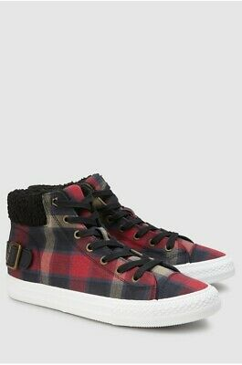 NEXT Womens/Girls Multi Check Borg Collar High Top Trainers Shoes Size UK 6.5/40