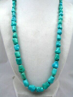 """14K Chinese Turquoise Nugget Necklace Export 22"""" Long 43 Grams GS457"""