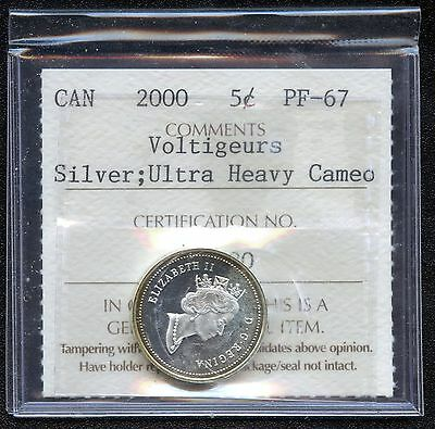 2000 Canada Silver 5 Cents (Voltigeurs) Graded ICCS PF67 Certification # CG 480