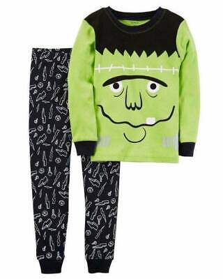 Boys Carters Black Frankenstein 2 Pc Glow In The Dark Halloween Pajamas- 18 mths