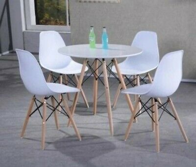 Eiffel Retro Dining Table Chairs Set Solid Wood Legs Plastic Top Office Lounge