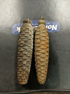 Two  Pine Cone Weights Cuckoo Clock  Antique parts