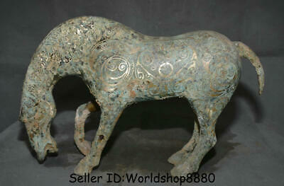 "15.6"" Old Chinese Dynasty Bronze Silver Ware Feng Shui War Horse Success Statue"