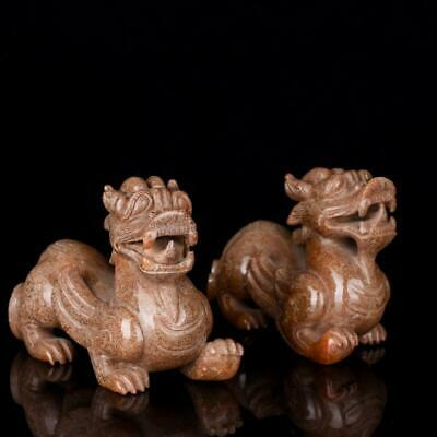 Chinese Exquisite Hand carved Rui Beast Carving Hetian jade statue a pair