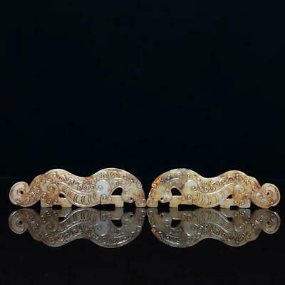 Chinese Exquisite Hand carved tiger Carving Hetian jade Pendant a pair