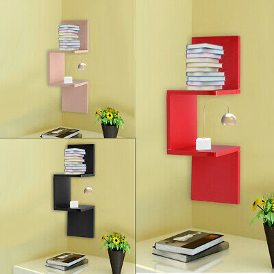 2 Tier Floating Wall Shelves Corner Shelf Storage Display Bookcase 3 Colors