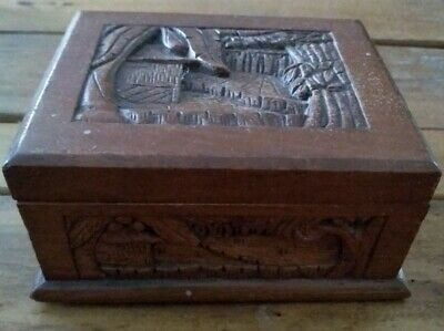 Trinket box chest Vintage intricately hand carved Orient? hinged latched wood