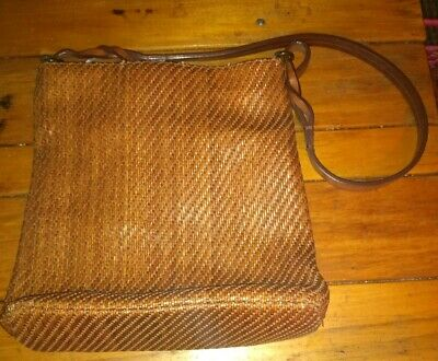 FOSSIL Vintage Bag Purse Brown Woven Body Leather Strap & Pulls  Nice Condition!