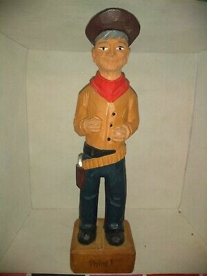 Vintage Folk Art painted statue old west cowboy man wood hand carved hat gunbelt