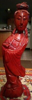 """8.25"""" Red Stained Wood Carving VintageStatue Figure Oriental Asian Woman Pretty!"""