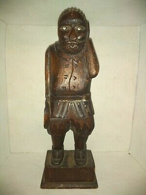 Vintage 79 Mexican Folk wooden statue art man wood carved hat in hand beady eyes