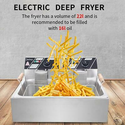 5000W Electric Countertop Deep Fryer Single Tank Commercial Restaurant Steel 22L