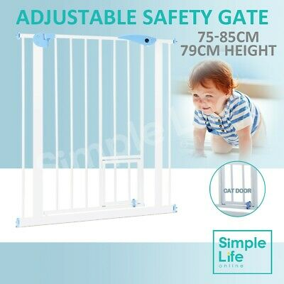 Baby Safety Security Gate Adjustable Pet Dog Stair Barrier w/ Cat Door 79cm Tall