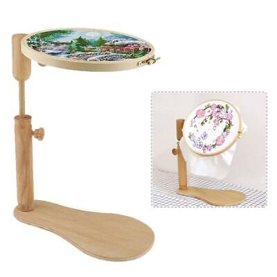 Round Wooden Embroidery Hoop Frame Stand Cross-stitch Adjustable DIY Craft Tool