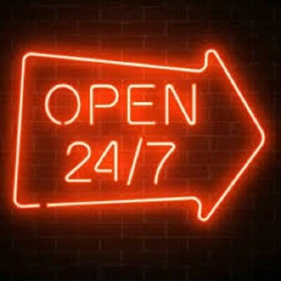 """New Open 24 7 Arrow Neon Light Sign 24""""x20"""" Lamp Poster Real Glass Beer Bar"""