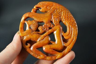 Chinese Old Jade Carved *Phoenix/Sexy Man&Woman* Lucky Pendant Z9