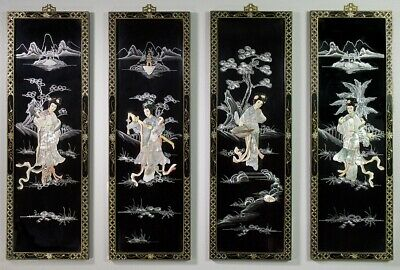 Vintage Chinese Coromandel Black Lacquer Screen Bone/Mother-of-Pearl